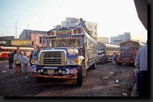 Na autobusáku v Guatemala City