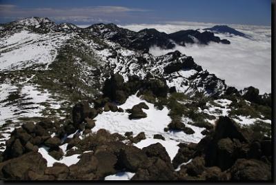 Jarní, zasněžené vrcholky La Palmy