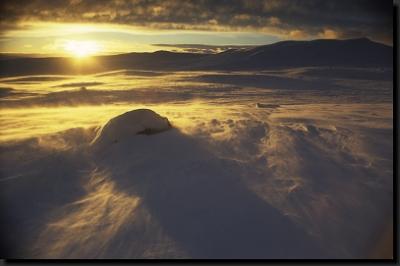 Západ slunce v zimní Hardangerviddě
