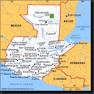 Mapka Guatemaly
