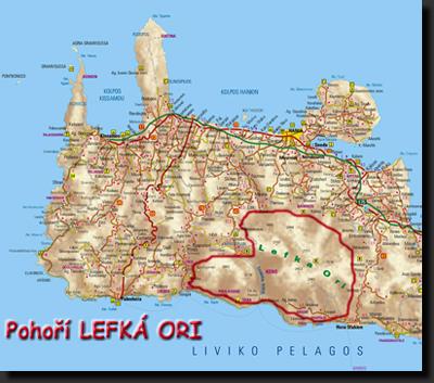 Mapa západní části Kréty