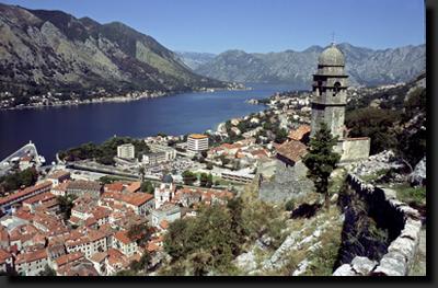 Město Kotor v kotorské zátoce