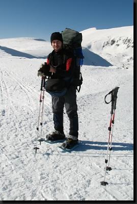 Autor stránek při zimním přechodu Nízkých Tater